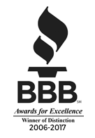 Better Business Bureau: Award of Excellence Service 2006-present